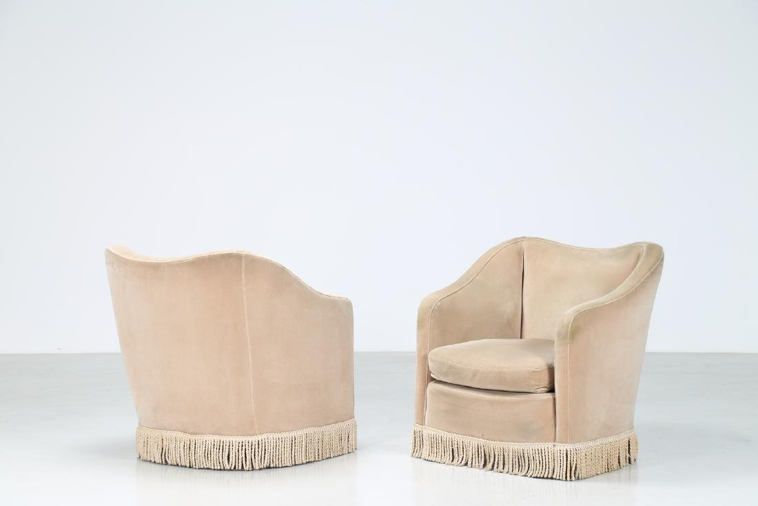 MANIFATTURA ITALIANA  Pair of wood and fabric