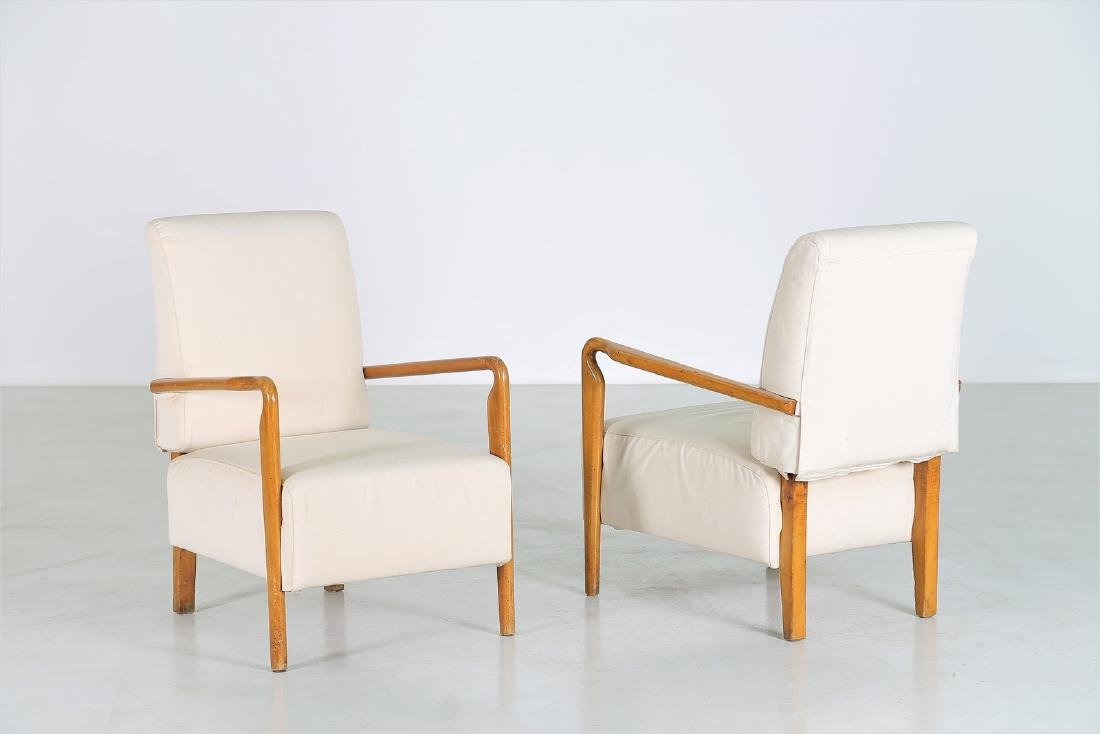 STUDIO CASSINA Pair of wood and fabric armchairs,