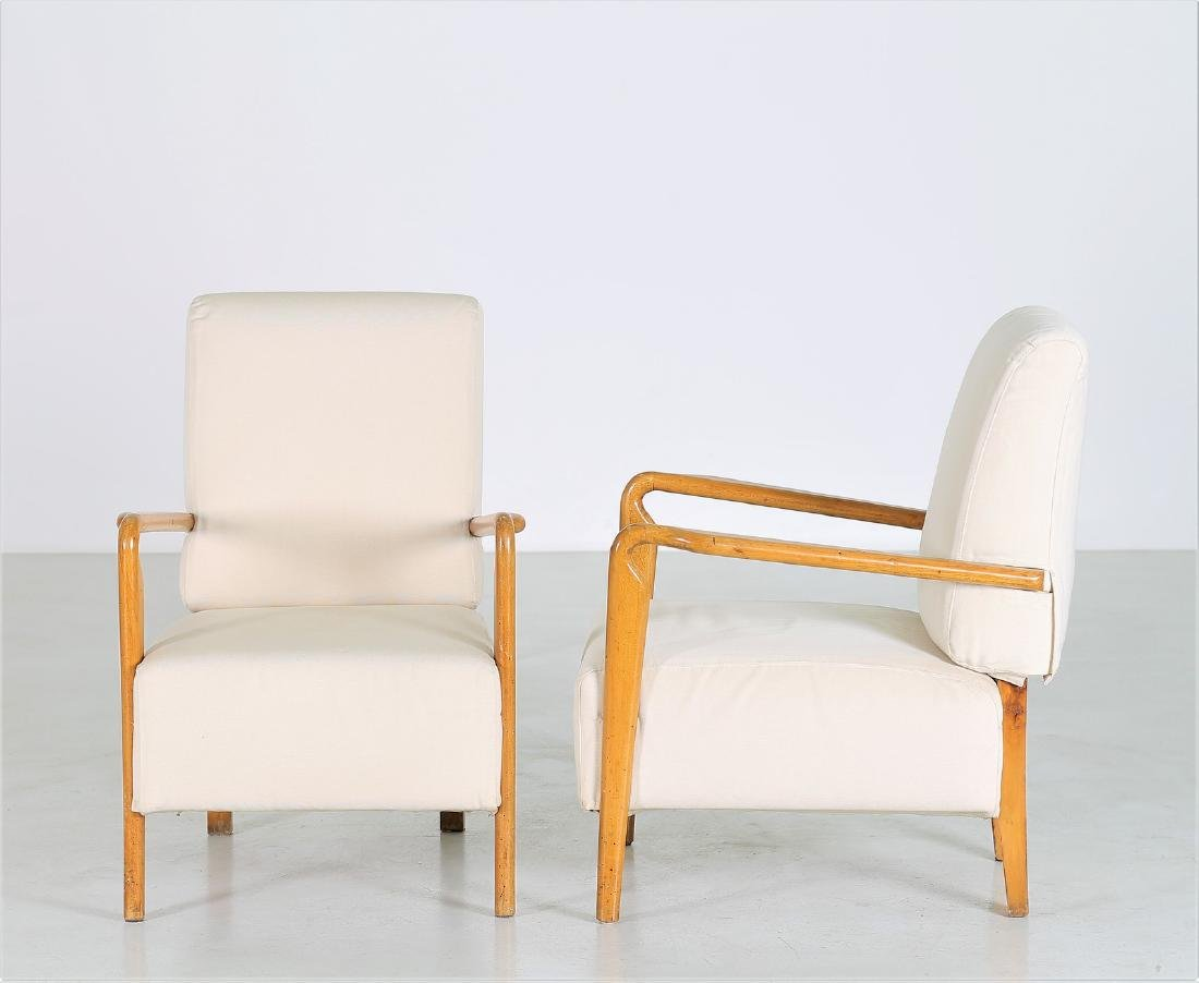 STUDIO CASSINA Pair of wood and fabric armchairs, - 2