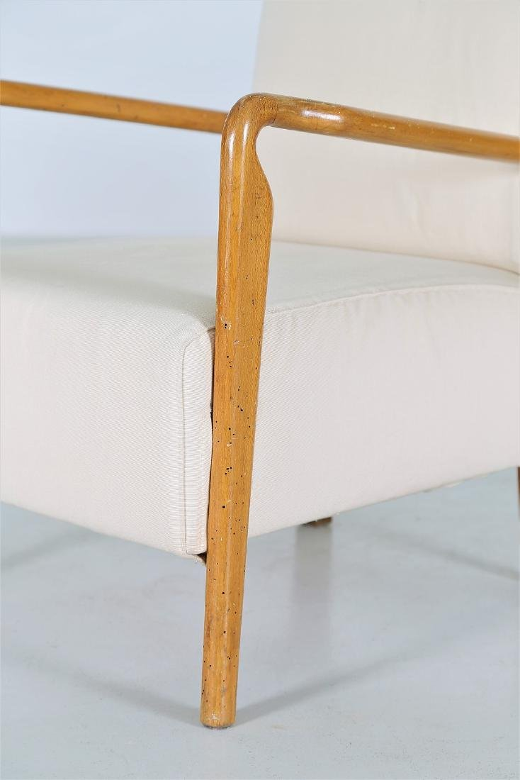 STUDIO CASSINA Pair of wood and fabric armchairs, - 4