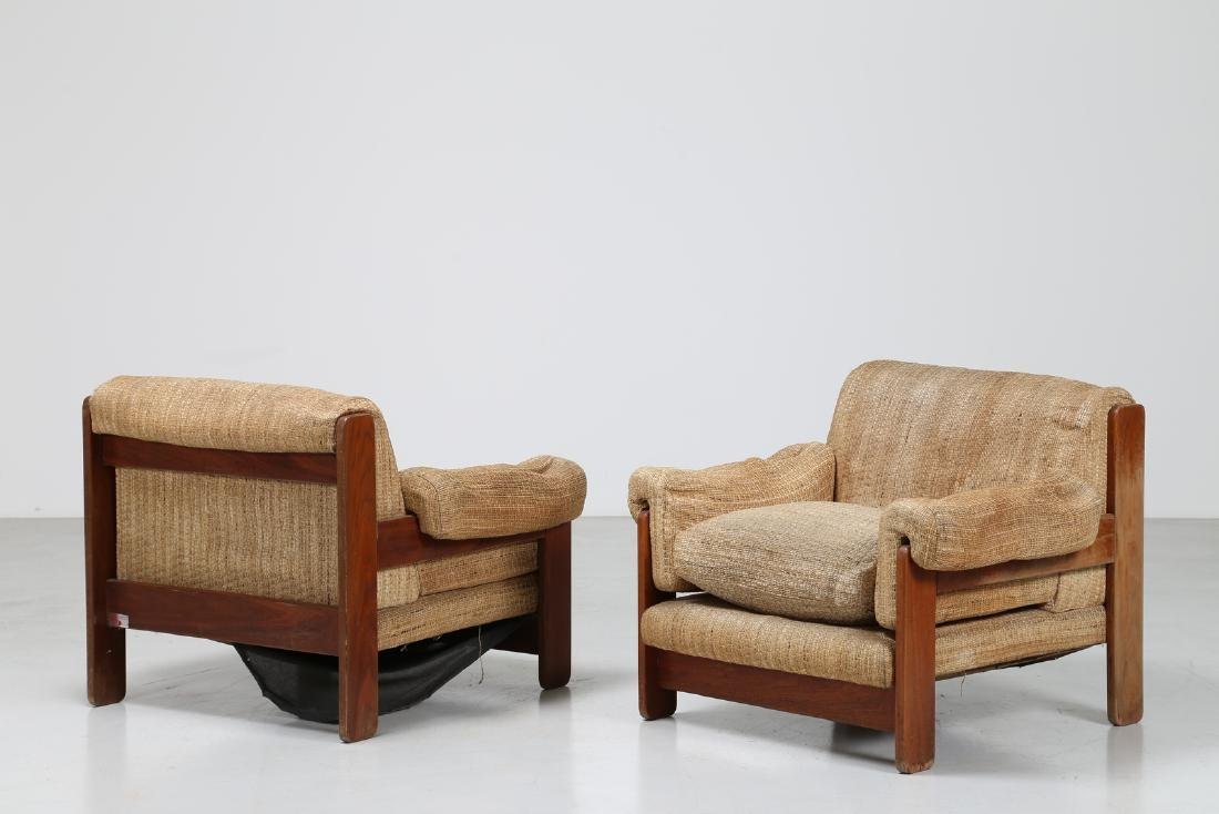 SERGIO SAPORITI Pair of armchairs in wood and original