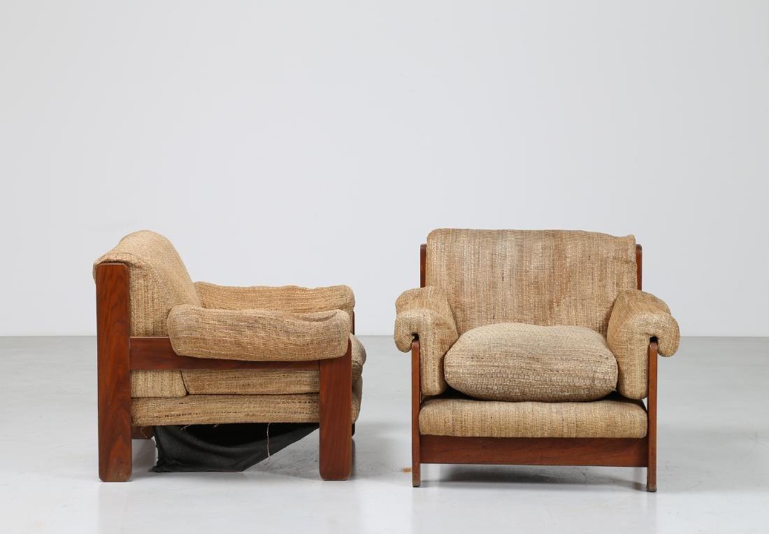 SERGIO SAPORITI Pair of armchairs in wood and original - 2