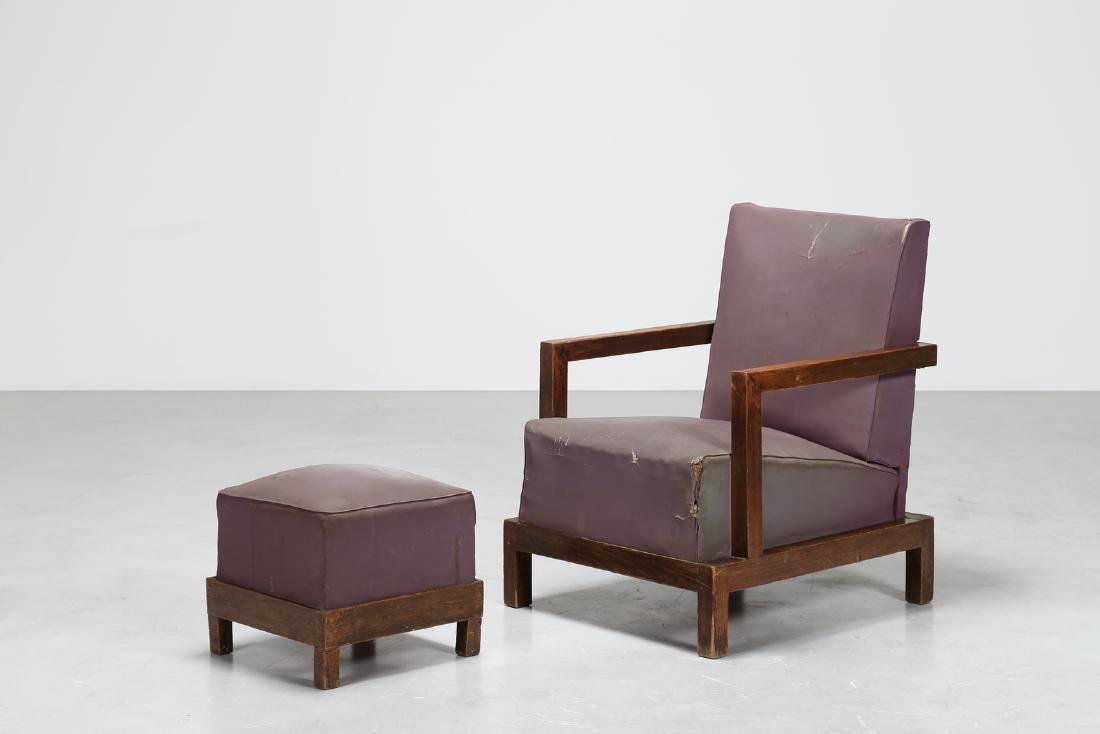 MANIFATTURA ITALIANA  Armchair and footstool in wood
