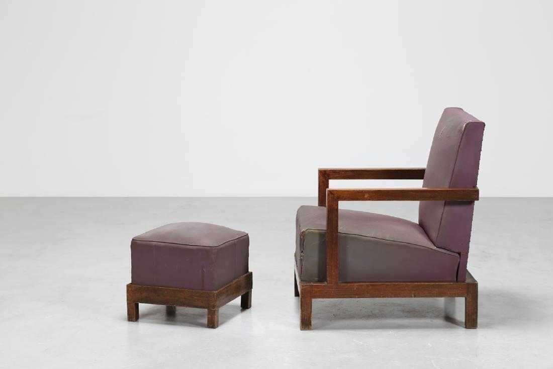 MANIFATTURA ITALIANA  Armchair and footstool in wood - 2