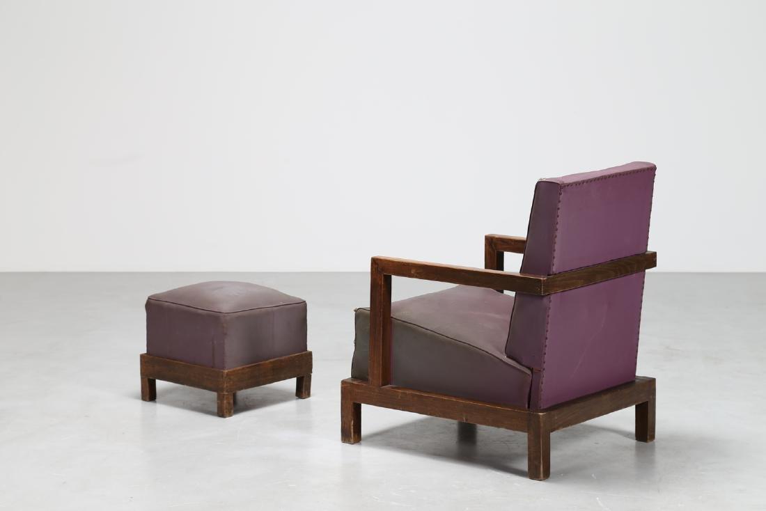MANIFATTURA ITALIANA  Armchair and footstool in wood - 3