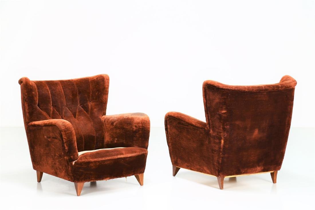MANIFATTURA ITALIANA  Pair of wood armchairs with