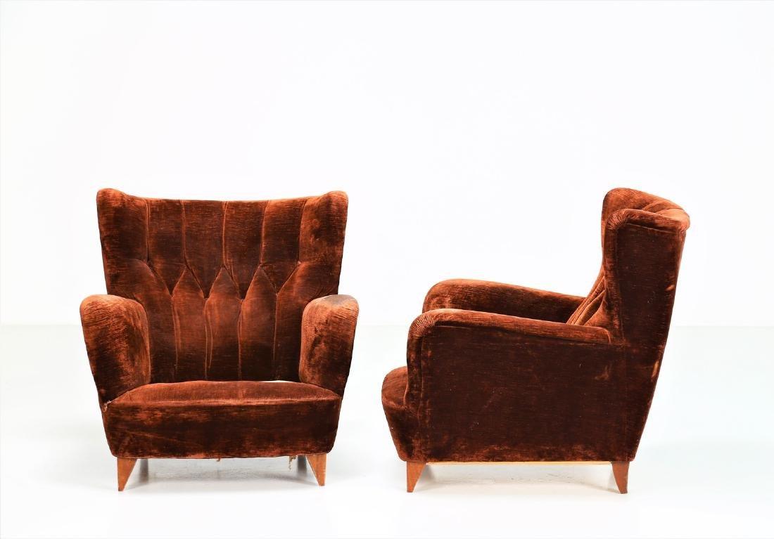MANIFATTURA ITALIANA  Pair of wood armchairs with - 2