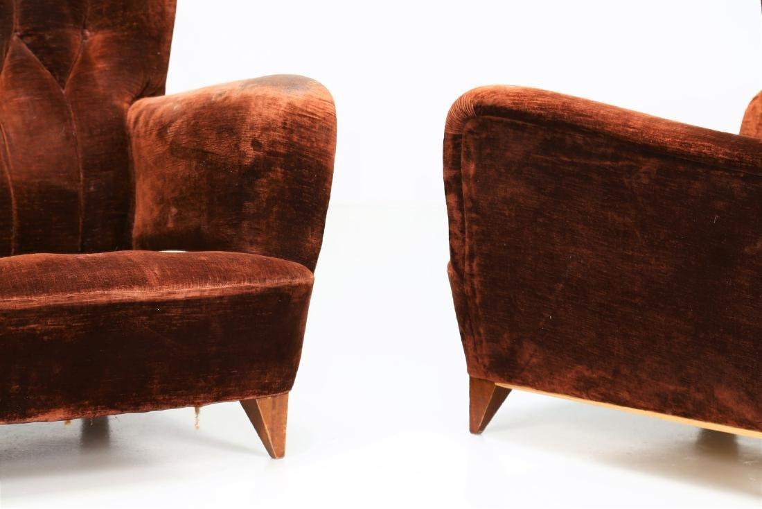 MANIFATTURA ITALIANA  Pair of wood armchairs with - 4