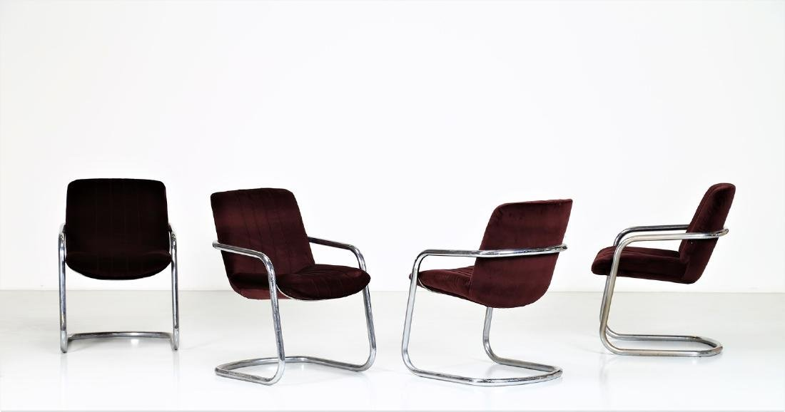 MANIFATTURA ITALIANA  Four chairs in chromed metal and