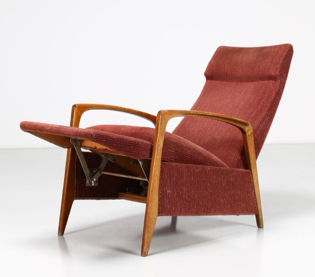 MANIFATTURA ITALIANA  Recliner armchair in walnut and - 4