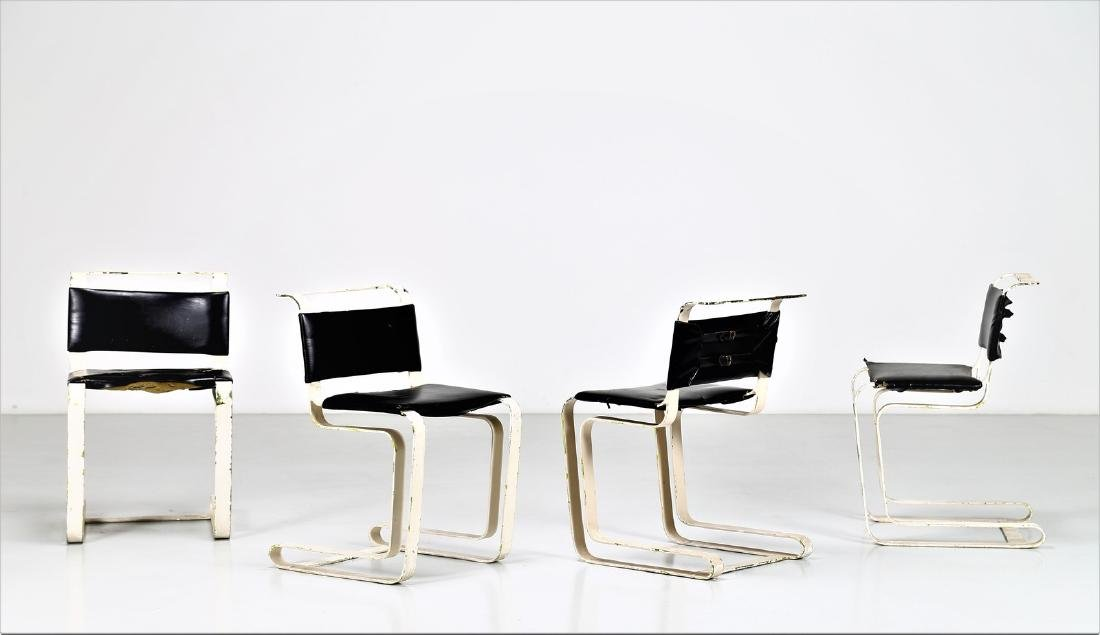 MANIFATTURA FRANCESE  Four chairs in lacquered metal