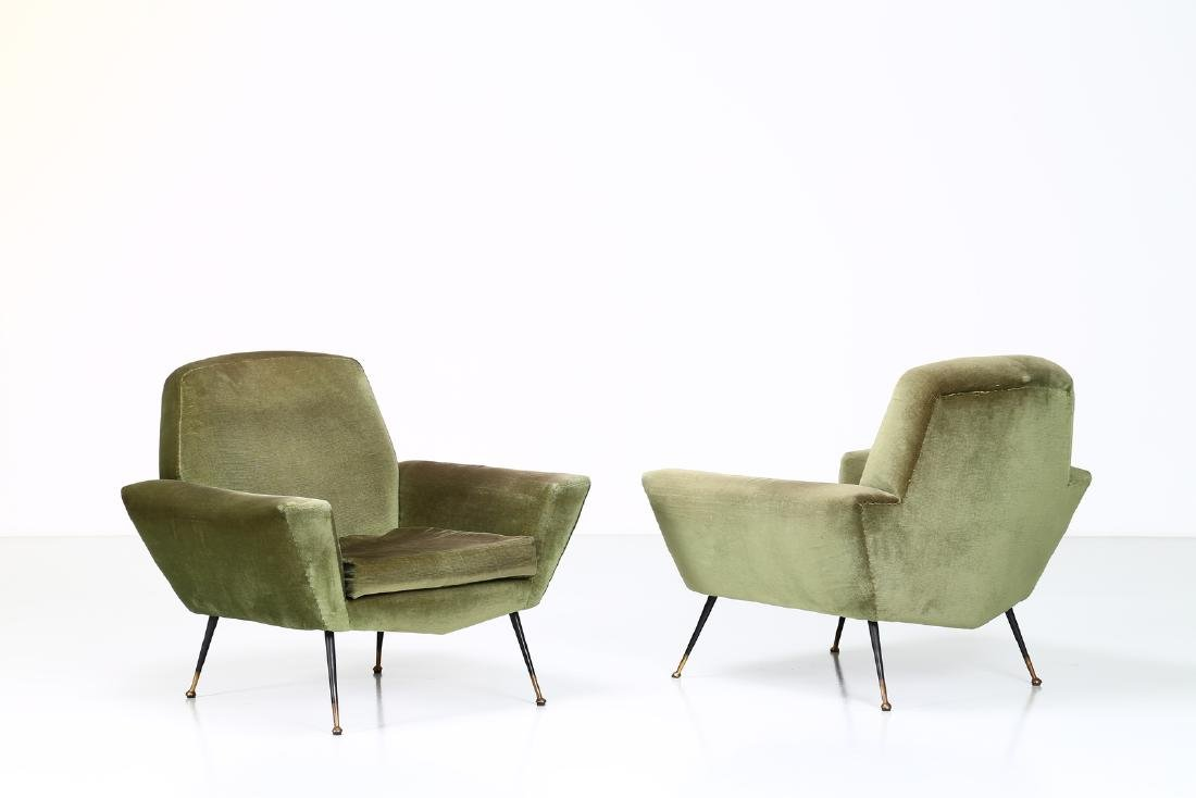 LENZI  Pair of fabric and brass armchairs, 1960s.