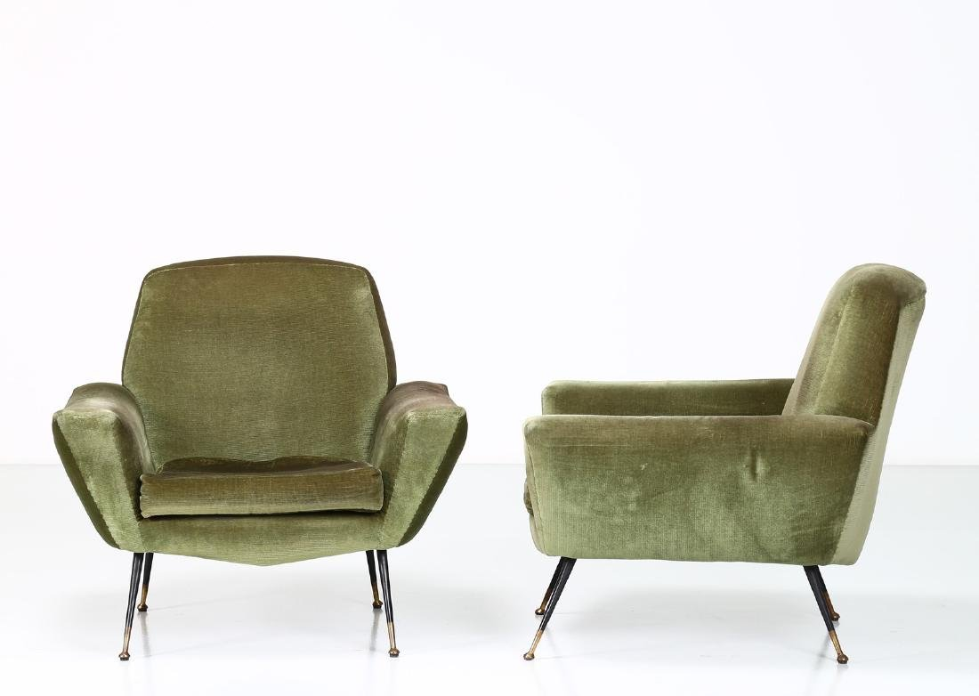 LENZI  Pair of fabric and brass armchairs, 1960s. - 2