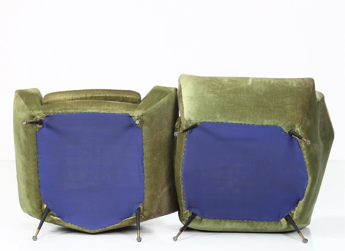 LENZI  Pair of fabric and brass armchairs, 1960s. - 3