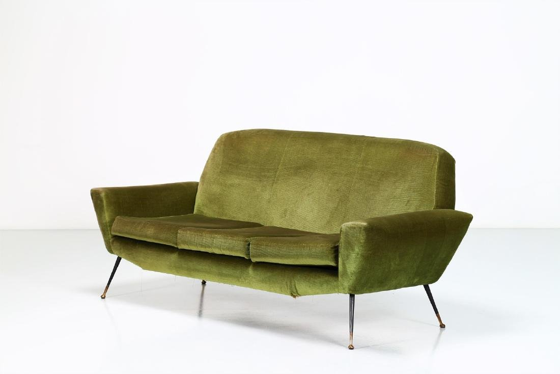 LENZI  Three-seater sofa in fabric and brass, 1960s.