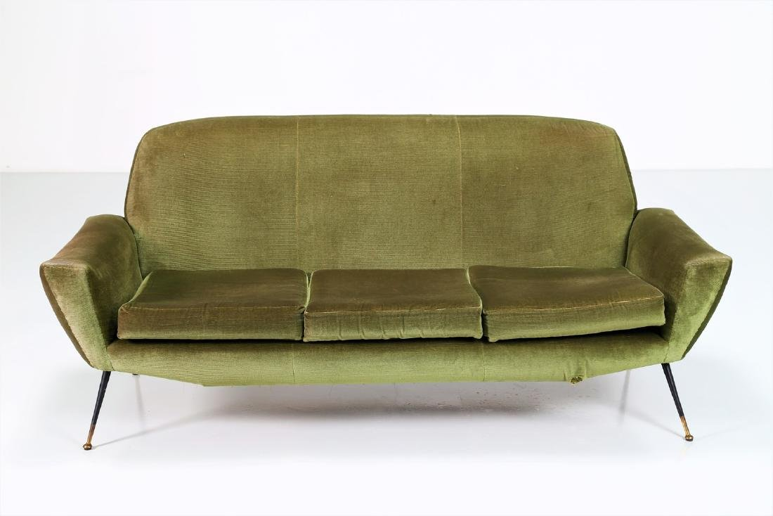 LENZI  Three-seater sofa in fabric and brass, 1960s. - 2