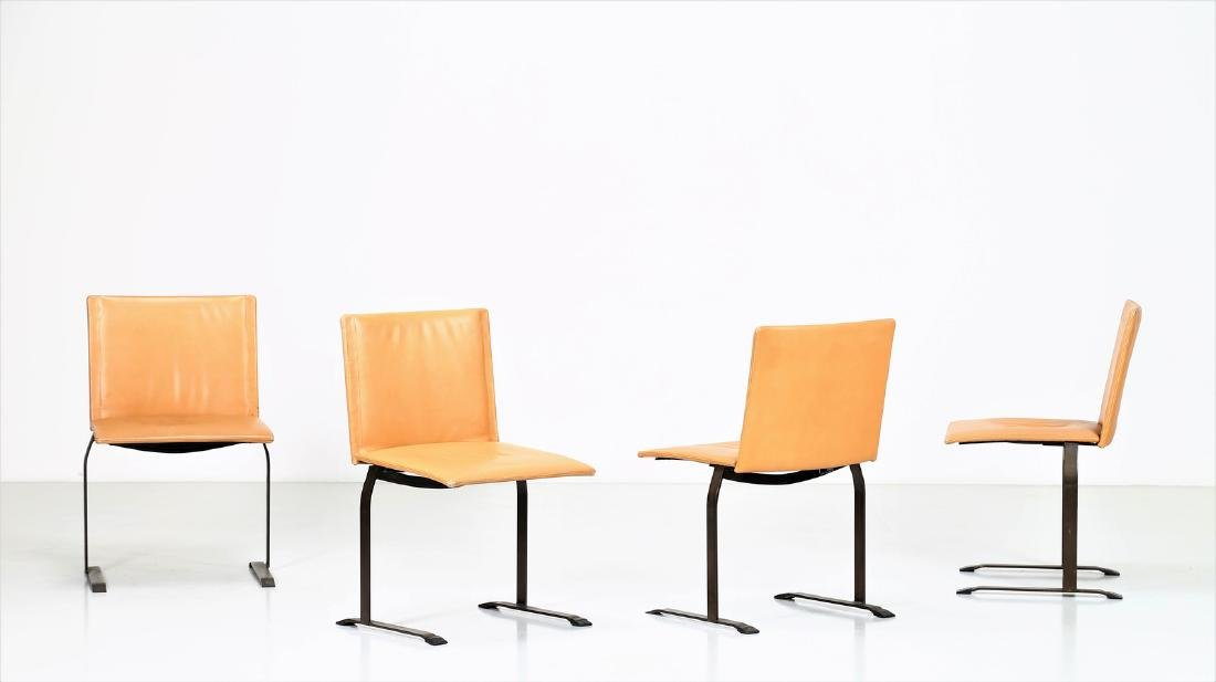 GIOVANNI OFFREDI Four chairs in lacquered metal and
