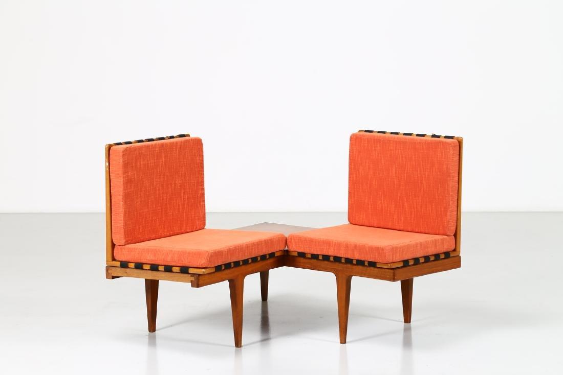 -  Corner seating unit in teak and fabric, 1960s.