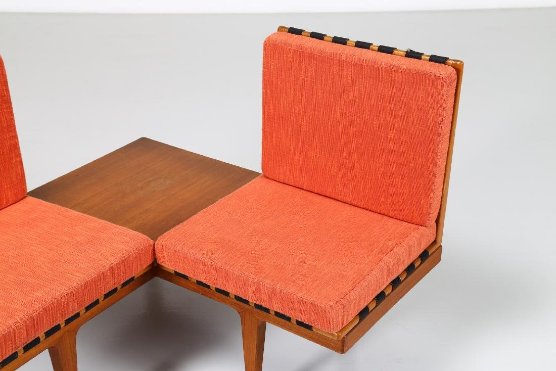 -  Corner seating unit in teak and fabric, 1960s. - 3