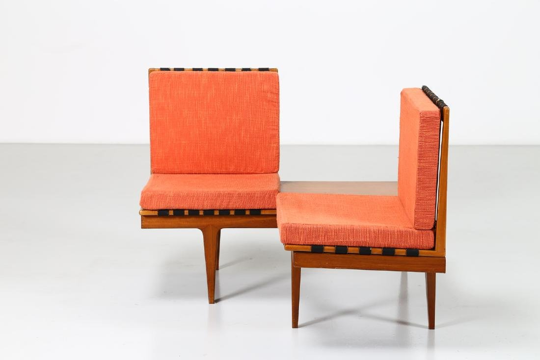 -  Corner seating unit in teak and fabric, 1960s. - 6