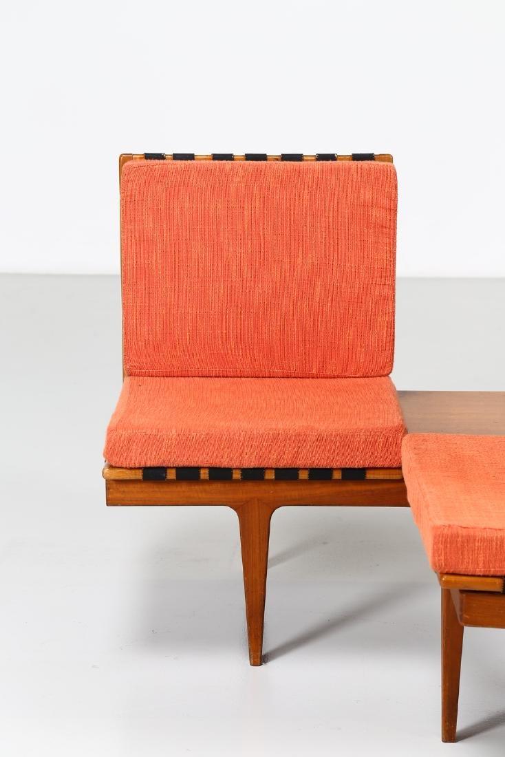 -  Corner seating unit in teak and fabric, 1960s. - 7