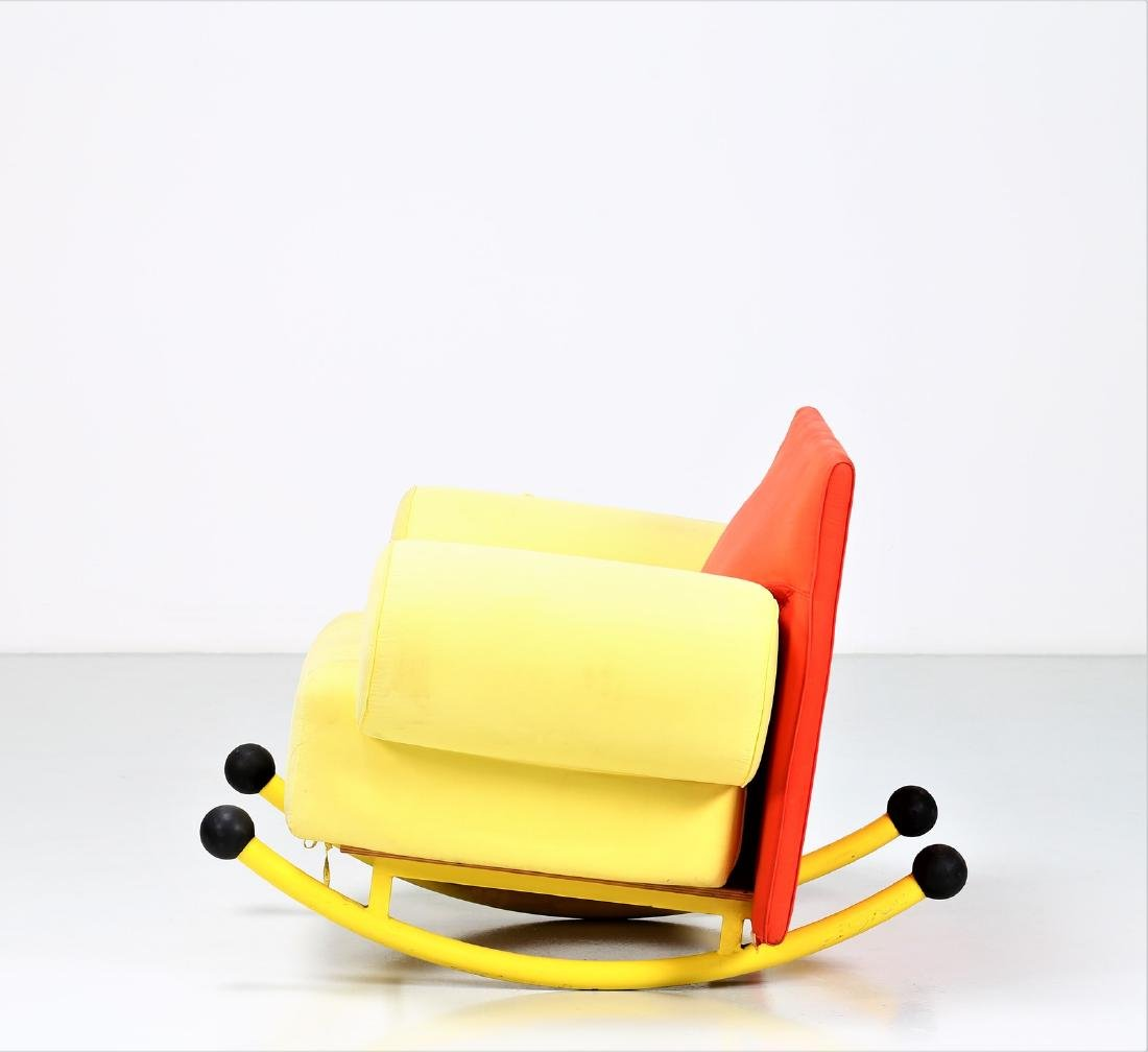 -  Rocking chair in lacquered metal and fabric. - 2