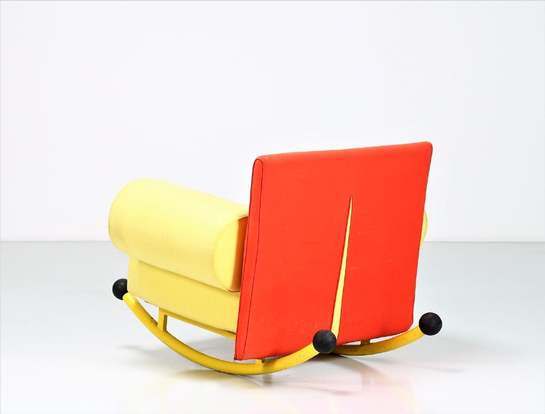 -  Rocking chair in lacquered metal and fabric. - 3