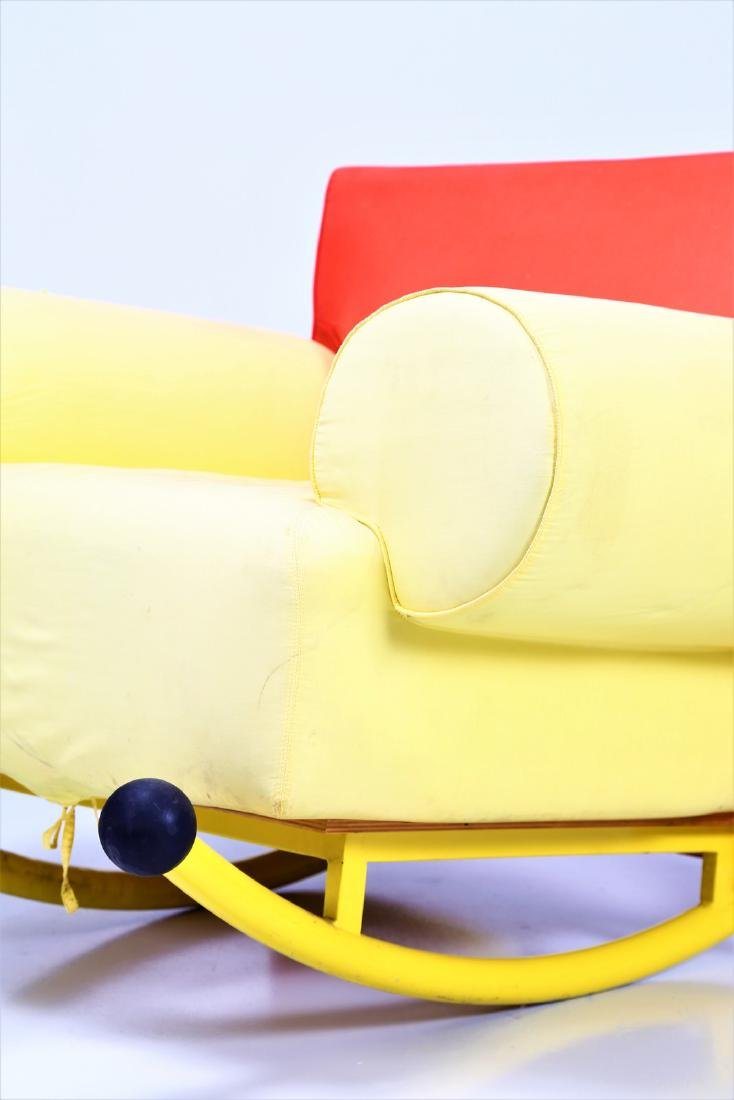 -  Rocking chair in lacquered metal and fabric. - 6
