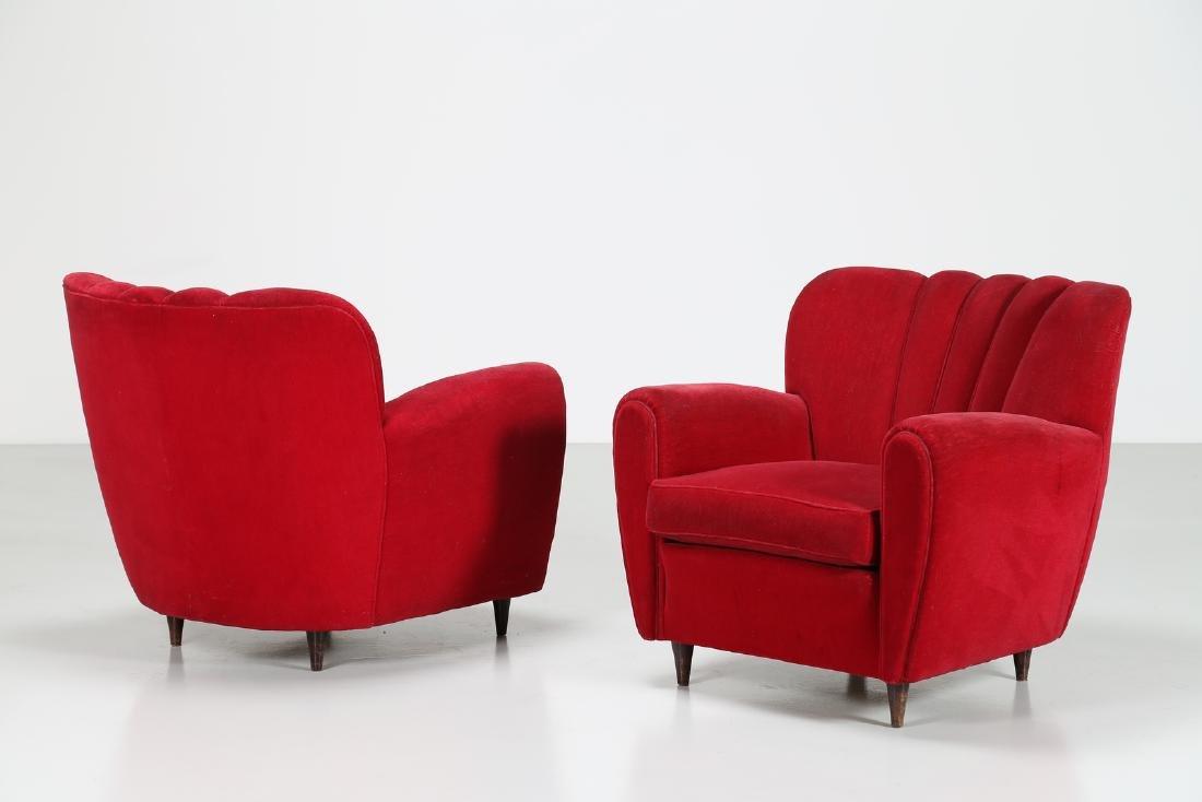 MANIFATTURA ITALIANA  Pair o wood anad woven armchairs,