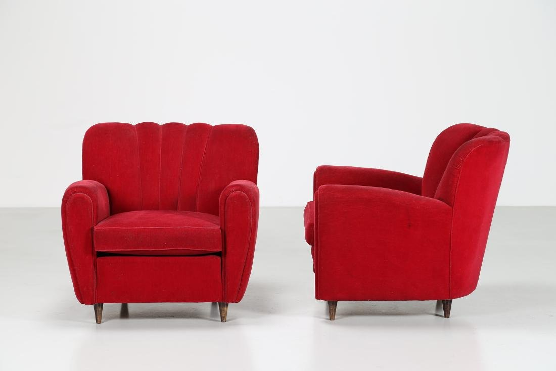 MANIFATTURA ITALIANA  Pair o wood anad woven armchairs, - 2