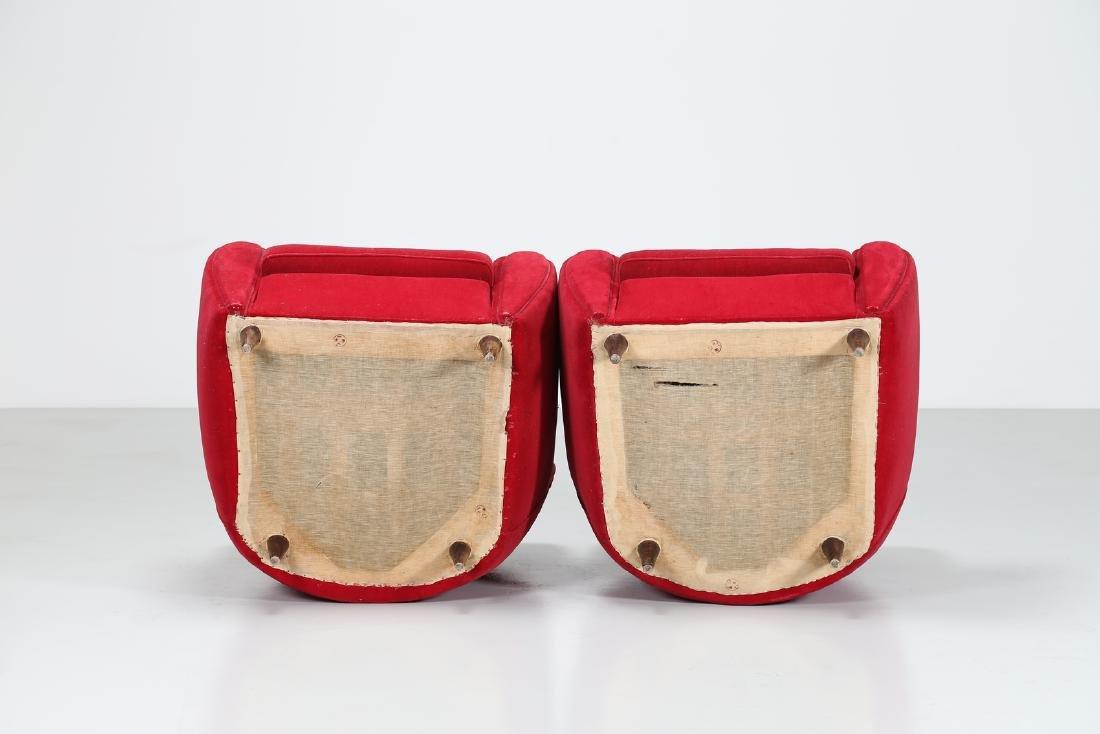 MANIFATTURA ITALIANA  Pair o wood anad woven armchairs, - 3