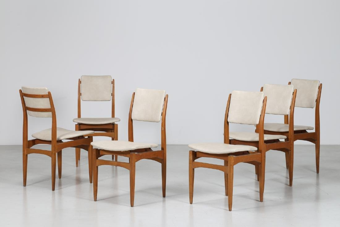 MANIFATTURA ITALIANA  Six chairs in beech and skai,