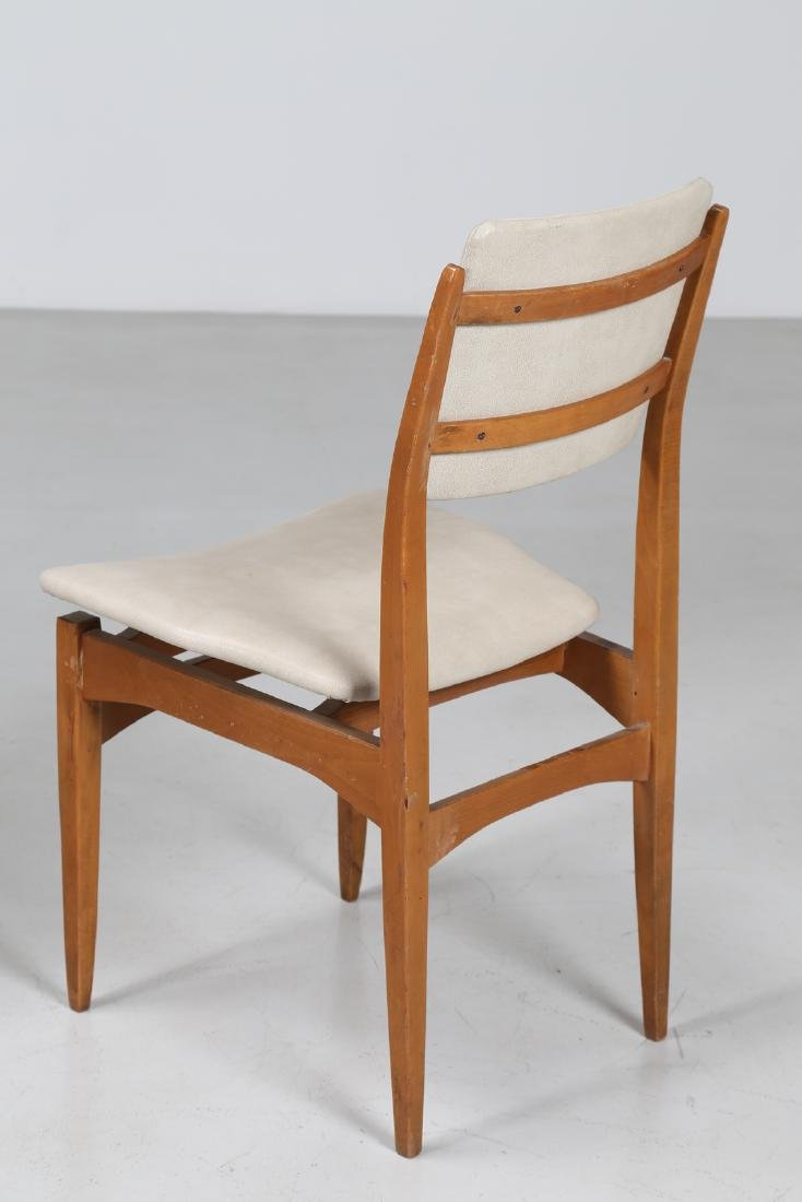 MANIFATTURA ITALIANA  Six chairs in beech and skai, - 4