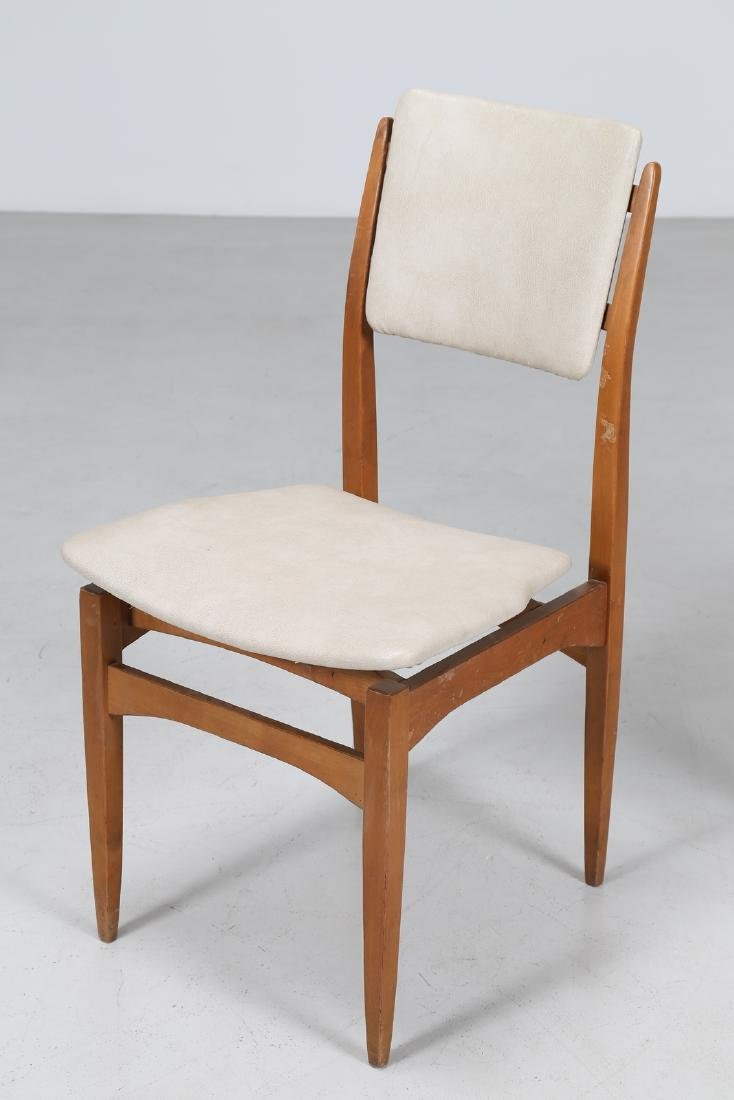 MANIFATTURA ITALIANA  Six chairs in beech and skai, - 5