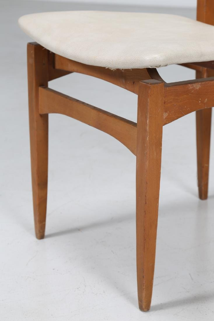 MANIFATTURA ITALIANA  Six chairs in beech and skai, - 6