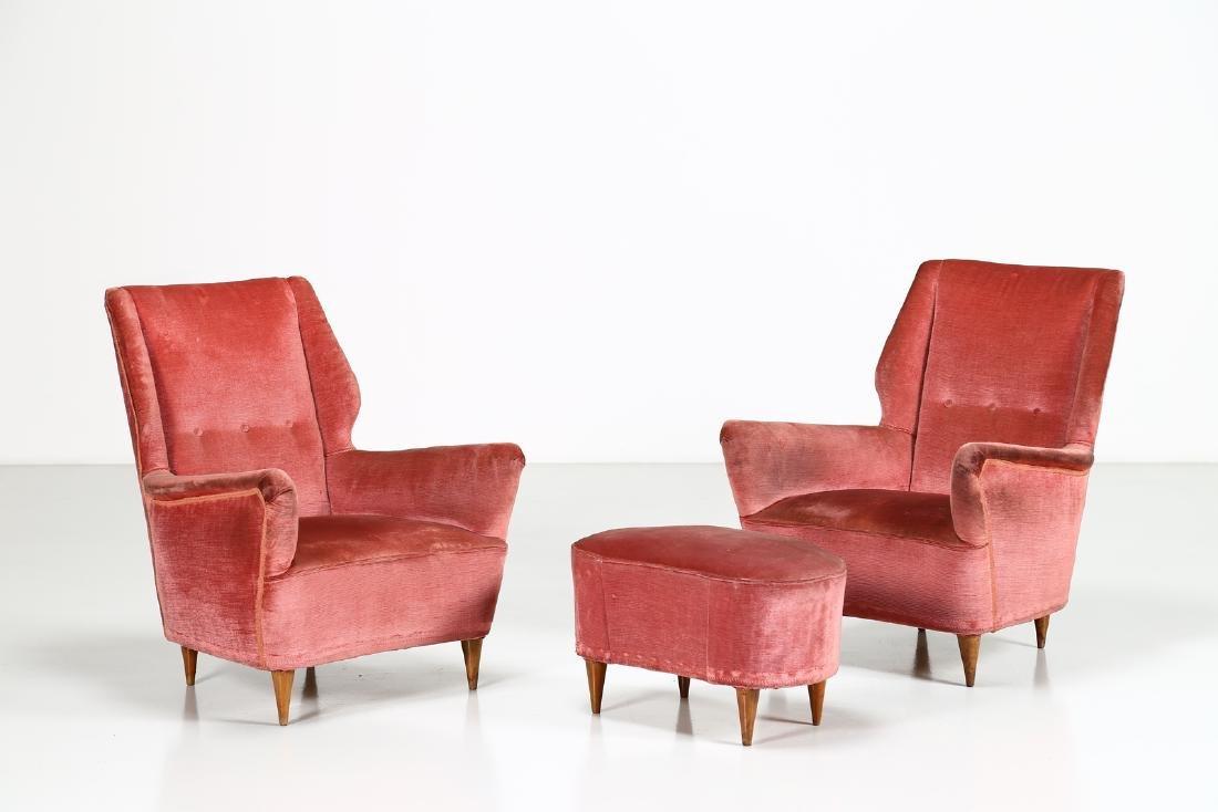 MANIFATTURA ITALIANA  Pair of armchairs and one