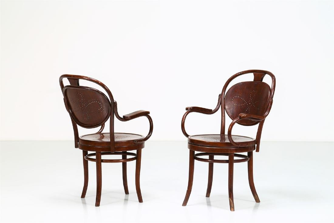 THONET, VIENNA  Pair of chairs with swivel seats,