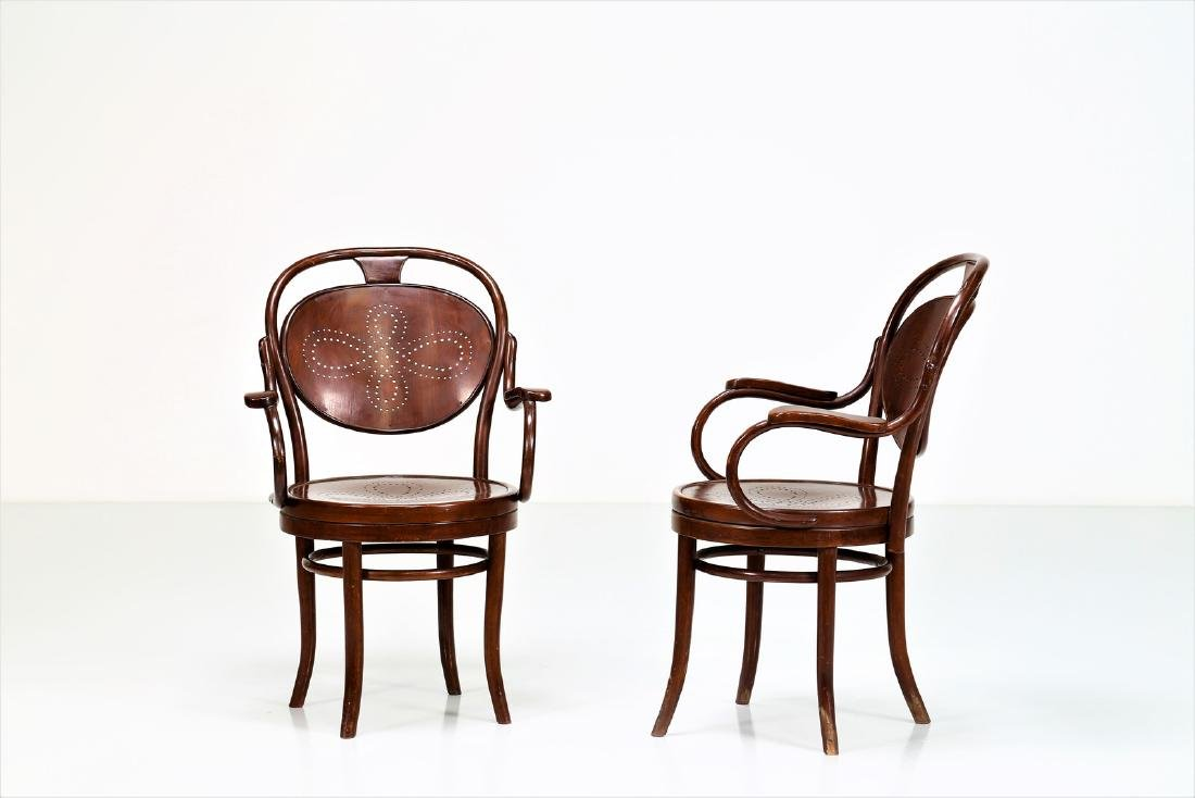 THONET, VIENNA  Pair of chairs with swivel seats, - 2