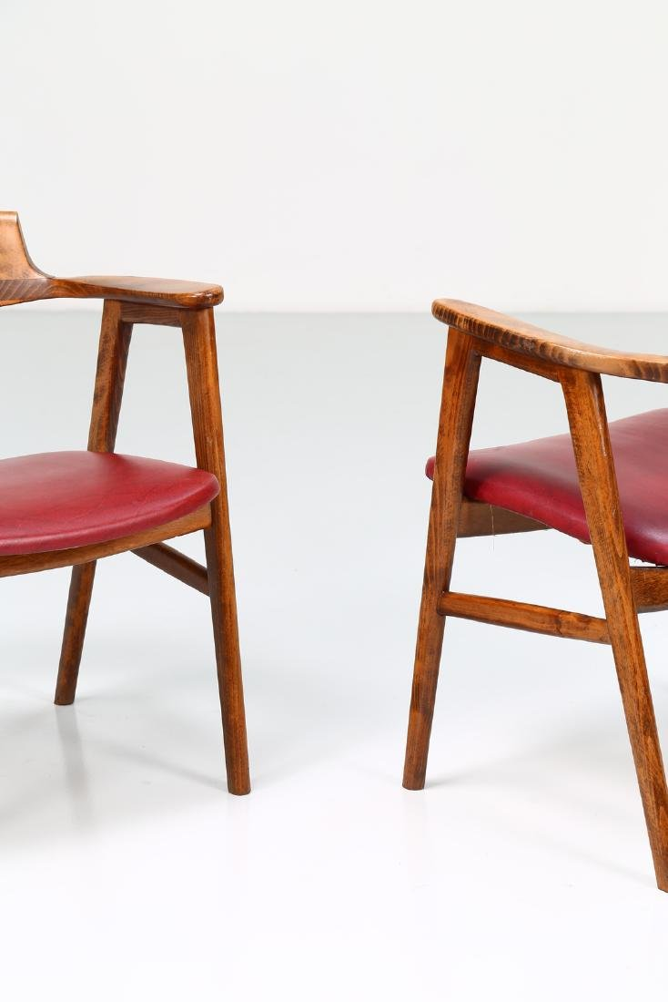 FRATELLI FORNASARIG Pair of chairs in wood and skai, - 3