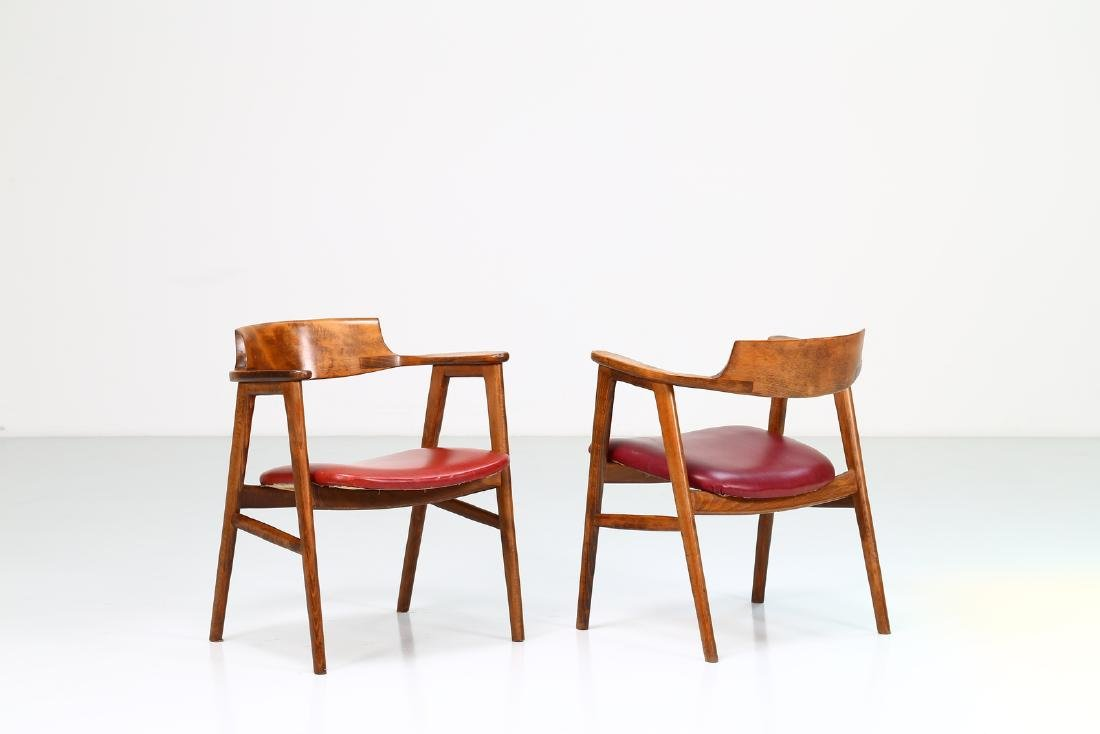 FRATELLI FORNASARIG Pair of chairs in wood and skai,