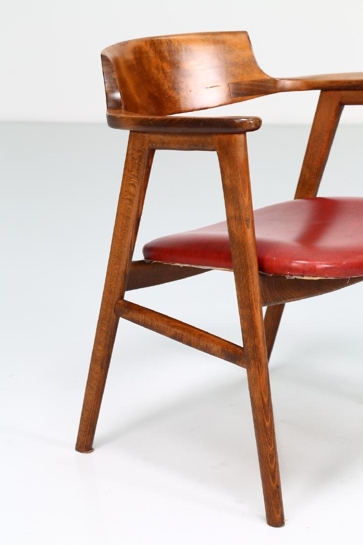 FRATELLI FORNASARIG Pair of chairs in wood and skai, - 4