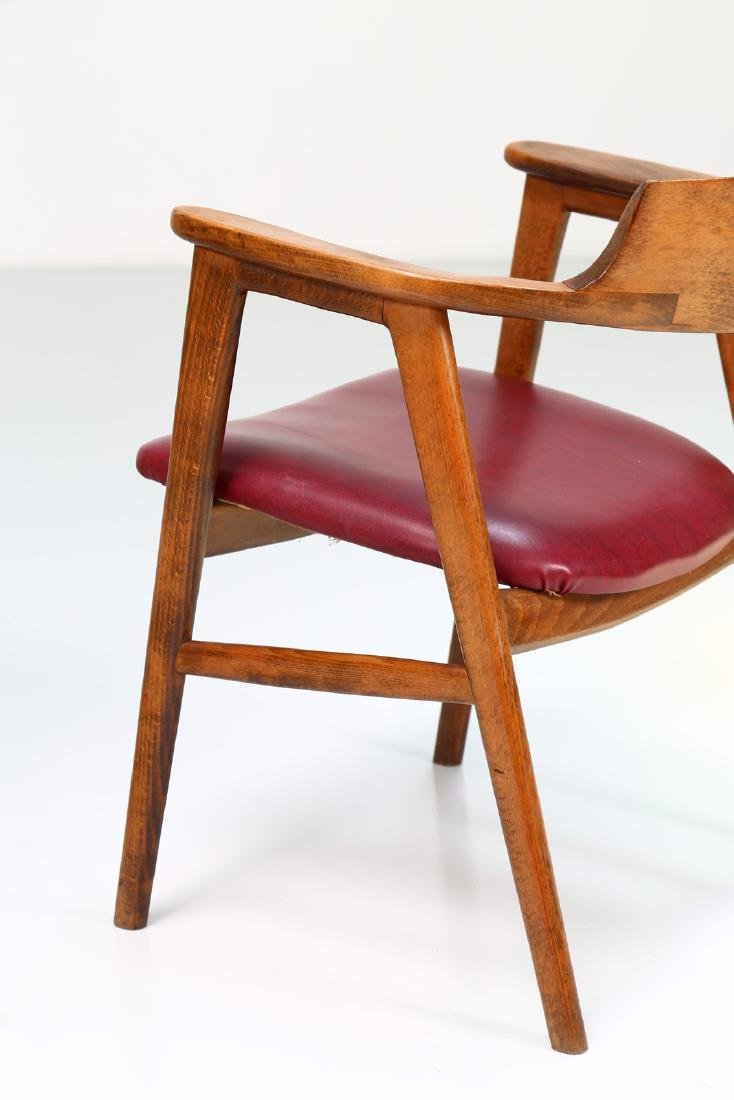 FRATELLI FORNASARIG Pair of chairs in wood and skai, - 5