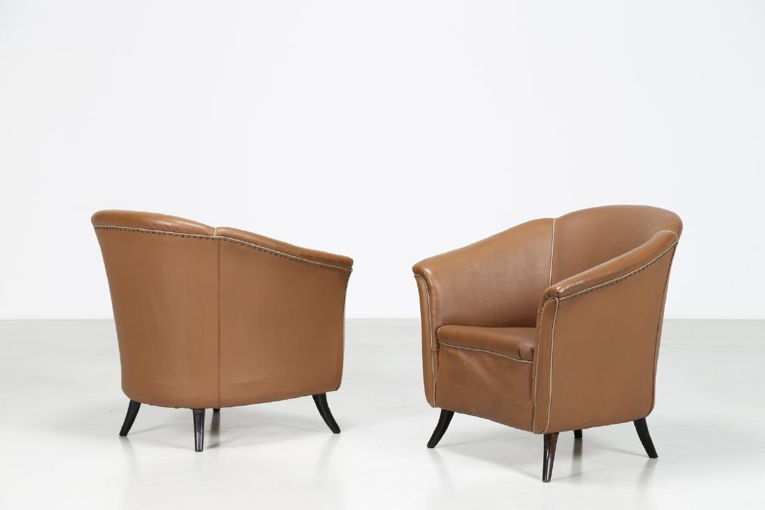 MANIFATTURA ITALIANA  Pair of bucket chairs in wood and