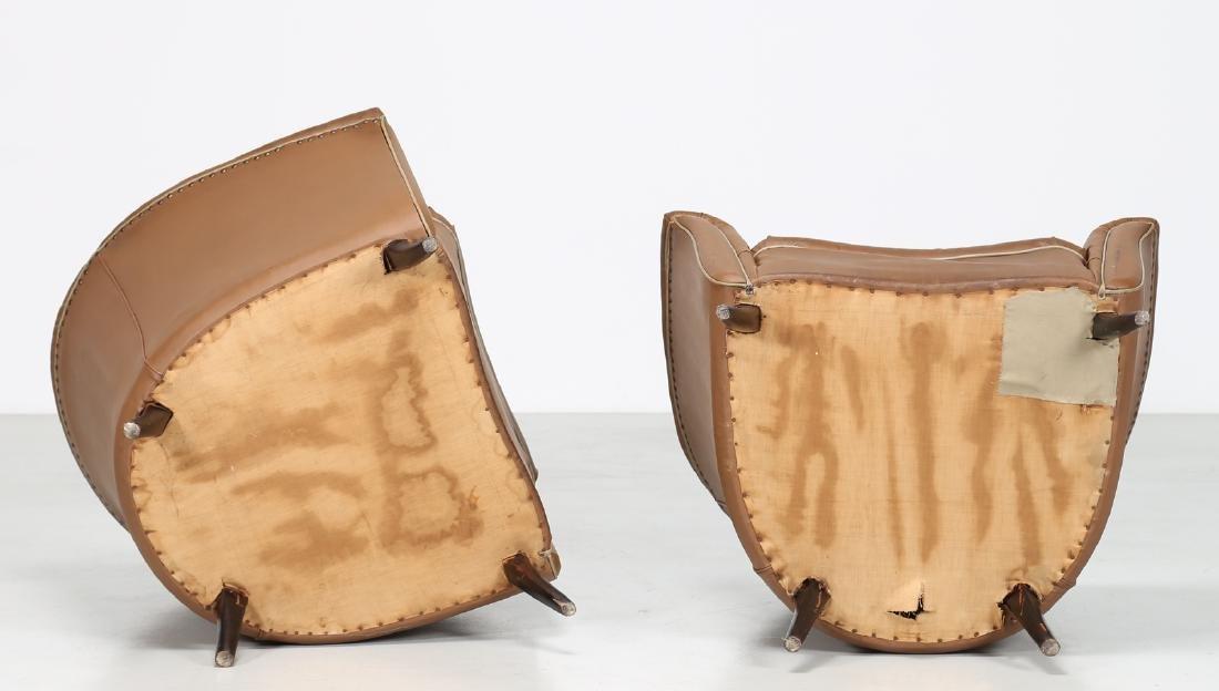 MANIFATTURA ITALIANA  Pair of bucket chairs in wood and - 3