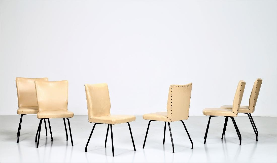 ISA BERGAMO  Six lacquered metal and skai chairs,