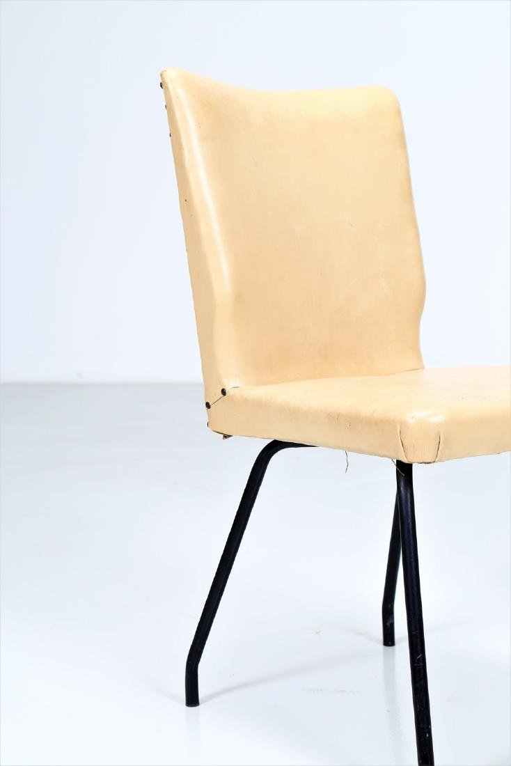 ISA BERGAMO  Six lacquered metal and skai chairs, - 4