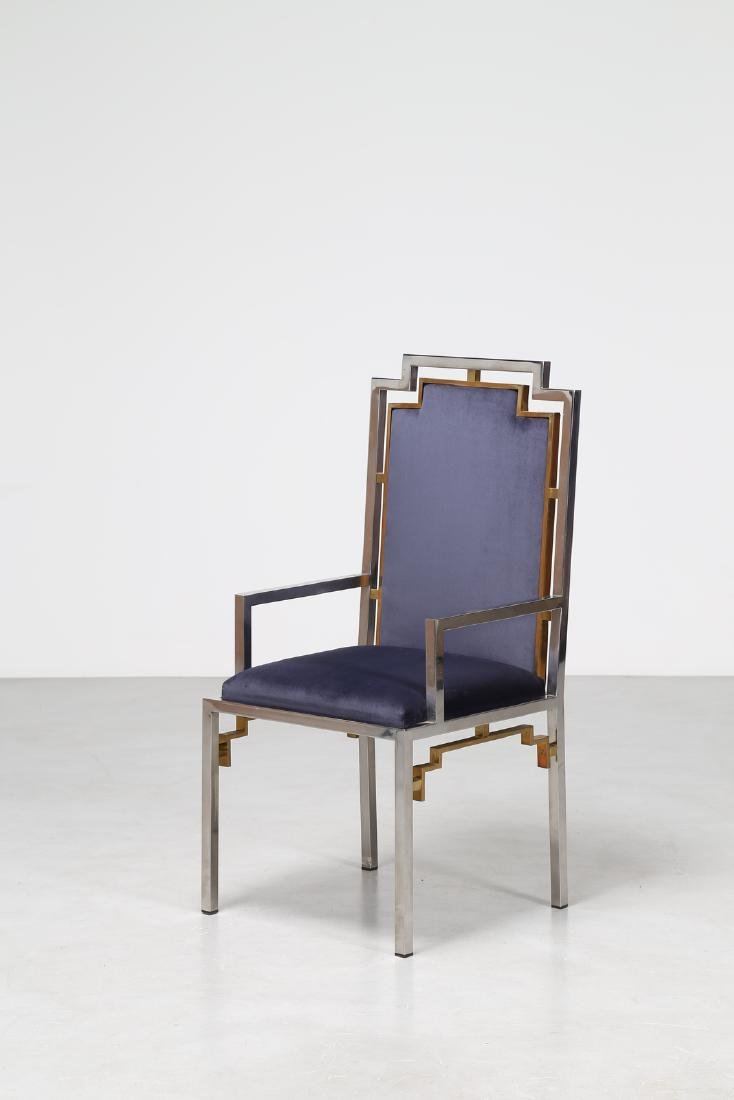 ROMEO REGA Chair in chromed metal, brass and fabric,