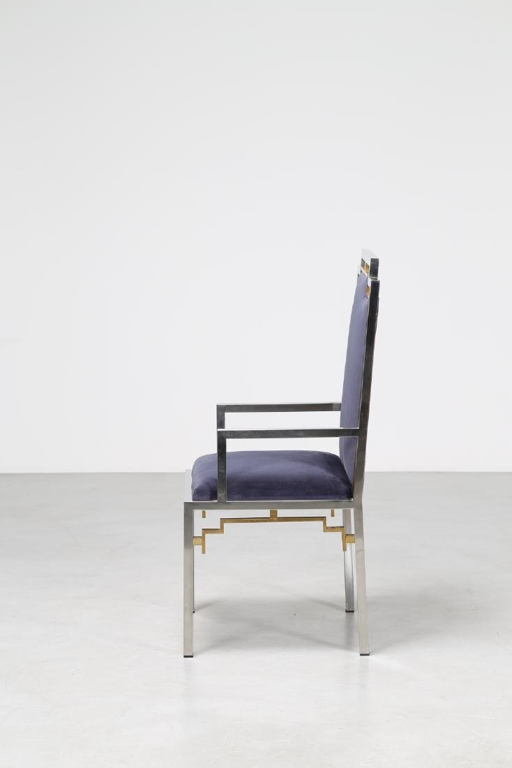 ROMEO REGA Chair in chromed metal, brass and fabric, - 2