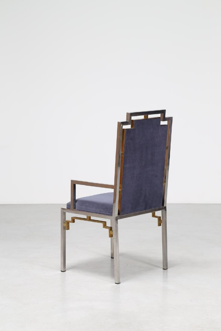 ROMEO REGA Chair in chromed metal, brass and fabric, - 3