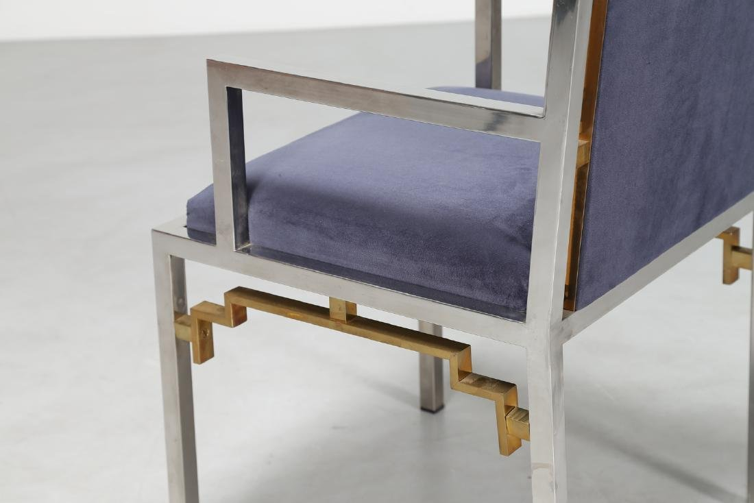 ROMEO REGA Chair in chromed metal, brass and fabric, - 5